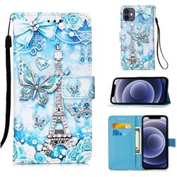 Tower Butterfly Matte Leather Wallet Phone Case for iPhone 12 mini (5.4 inch)