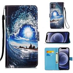 Waves and Sun Matte Leather Wallet Phone Case for iPhone 12 mini (5.4 inch)