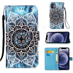 Underwater Mandala Matte Leather Wallet Phone Case for iPhone 12 mini (5.4 inch)