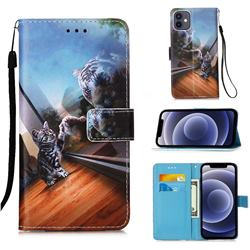 Mirror Cat Matte Leather Wallet Phone Case for iPhone 12 mini (5.4 inch)