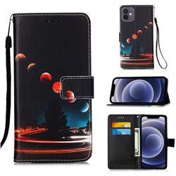 Wandering Earth Matte Leather Wallet Phone Case for iPhone 12 mini (5.4 inch)