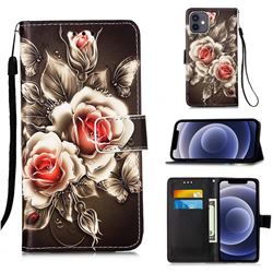 Black Rose Matte Leather Wallet Phone Case for iPhone 12 mini (5.4 inch)