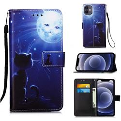 Cat and Moon Matte Leather Wallet Phone Case for iPhone 12 mini (5.4 inch)