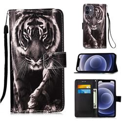 Black and White Tiger Matte Leather Wallet Phone Case for iPhone 12 mini (5.4 inch)