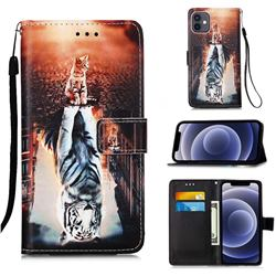 Cat and Tiger Matte Leather Wallet Phone Case for iPhone 12 mini (5.4 inch)
