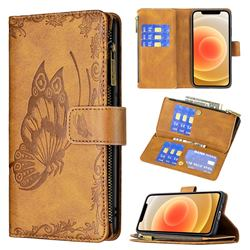 Binfen Color Imprint Vivid Butterfly Buckle Zipper Multi-function Leather Phone Wallet for iPhone 12 mini (5.4 inch) - Brown