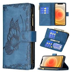 Binfen Color Imprint Vivid Butterfly Buckle Zipper Multi-function Leather Phone Wallet for iPhone 12 mini (5.4 inch) - Blue