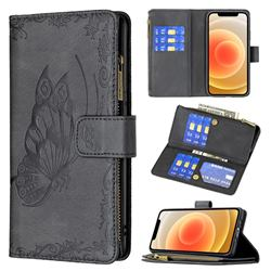 Binfen Color Imprint Vivid Butterfly Buckle Zipper Multi-function Leather Phone Wallet for iPhone 12 mini (5.4 inch) - Black