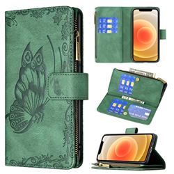 Binfen Color Imprint Vivid Butterfly Buckle Zipper Multi-function Leather Phone Wallet for iPhone 12 mini (5.4 inch) - Green