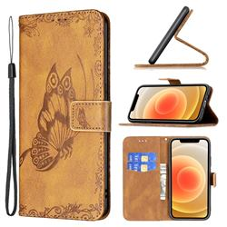 Binfen Color Imprint Vivid Butterfly Leather Wallet Case for iPhone 12 mini (5.4 inch) - Brown