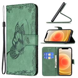 Binfen Color Imprint Vivid Butterfly Leather Wallet Case for iPhone 12 mini (5.4 inch) - Green