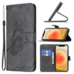 Binfen Color Imprint Vivid Butterfly Leather Wallet Case for iPhone 12 mini (5.4 inch) - Black