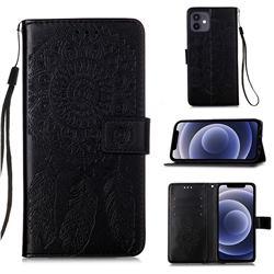 Embossing Dream Catcher Mandala Flower Leather Wallet Case for iPhone 12 mini (5.4 inch) - Black