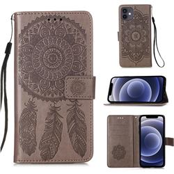 Embossing Dream Catcher Mandala Flower Leather Wallet Case for iPhone 12 mini (5.4 inch) - Gray