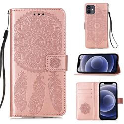 Embossing Dream Catcher Mandala Flower Leather Wallet Case for iPhone 12 mini (5.4 inch) - Rose Gold