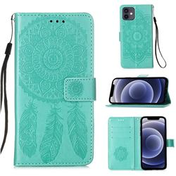 Embossing Dream Catcher Mandala Flower Leather Wallet Case for iPhone 12 mini (5.4 inch) - Green