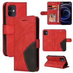 Luxury Two-color Stitching Leather Wallet Case Cover for iPhone 12 mini (5.4 inch) - Red