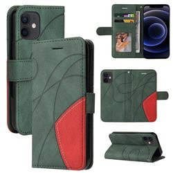 Luxury Two-color Stitching Leather Wallet Case Cover for iPhone 12 mini (5.4 inch) - Green