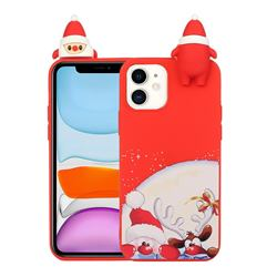 Santa Claus Elk Christmas Xmax Soft 3D Doll Silicone Case for iPhone 12 / 12 Pro (6.1 inch)