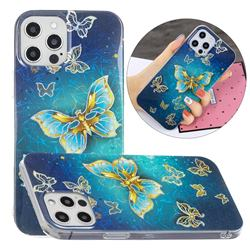 Golden Butterfly Painted Galvanized Electroplating Soft Phone Case Cover for iPhone 12 / 12 Pro (6.1 inch)