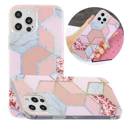Pink Marble Painted Galvanized Electroplating Soft Phone Case Cover for iPhone 12 / 12 Pro (6.1 inch)