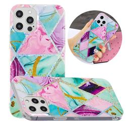 Triangular Marble Painted Galvanized Electroplating Soft Phone Case Cover for iPhone 12 / 12 Pro (6.1 inch)