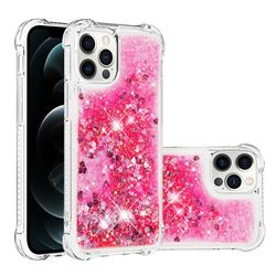 Dynamic Liquid Glitter Sand Quicksand TPU Case for iPhone 12 / 12 Pro (6.1 inch) - Pink Love Heart
