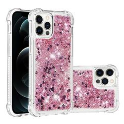 Dynamic Liquid Glitter Sand Quicksand Star TPU Case for iPhone 12 / 12 Pro (6.1 inch) - Diamond Rose