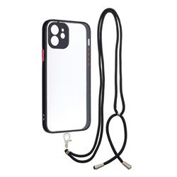 Necklace Cross-body Lanyard Strap Cord Phone Case Cover for iPhone 12 / 12 Pro (6.1 inch) - Black