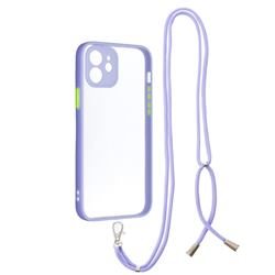 Necklace Cross-body Lanyard Strap Cord Phone Case Cover for iPhone 12 / 12 Pro (6.1 inch) - Purple