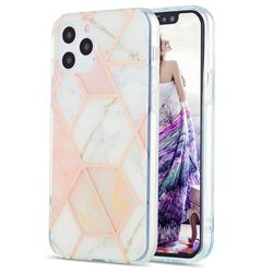 Pink White Marble Pattern Galvanized Electroplating Protective Case Cover for iPhone 12 / 12 Pro (6.1 inch)