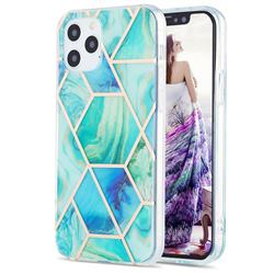 Green Glacier Marble Pattern Galvanized Electroplating Protective Case Cover for iPhone 12 / 12 Pro (6.1 inch)