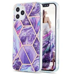Purple Gagic Marble Pattern Galvanized Electroplating Protective Case Cover for iPhone 12 / 12 Pro (6.1 inch)