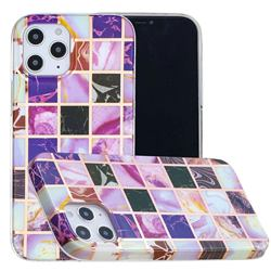 Square Puzzle Painted Marble Electroplating Protective Case for iPhone 12 / 12 Pro (6.1 inch)