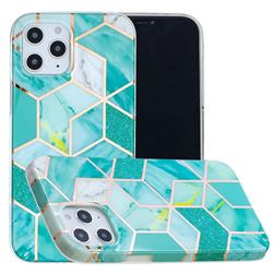 Green Glitter Painted Marble Electroplating Protective Case for iPhone 12 / 12 Pro (6.1 inch)