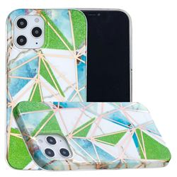 Green Triangle Painted Marble Electroplating Protective Case for iPhone 12 / 12 Pro (6.1 inch)
