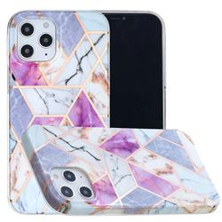 Purple and White Painted Marble Electroplating Protective Case for iPhone 12 / 12 Pro (6.1 inch)