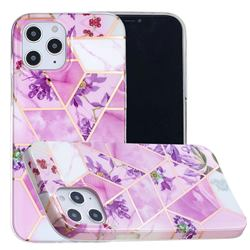 Purple Flower Painted Marble Electroplating Protective Case for iPhone 12 / 12 Pro (6.1 inch)