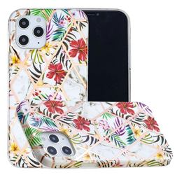 Tropical Rainforest Flower Painted Marble Electroplating Protective Case for iPhone 12 / 12 Pro (6.1 inch)