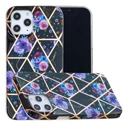 Black Flower Painted Marble Electroplating Protective Case for iPhone 12 / 12 Pro (6.1 inch)