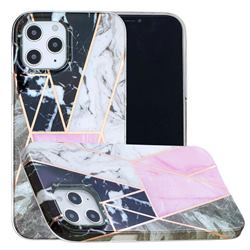 Pink and Black Painted Marble Electroplating Protective Case for iPhone 12 / 12 Pro (6.1 inch)