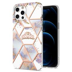 Crown Purple Flower Marble Electroplating Protective Case Cover for iPhone 12 / 12 Pro (6.1 inch)