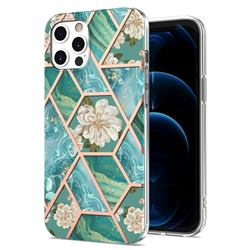 Blue Chrysanthemum Marble Electroplating Protective Case Cover for iPhone 12 / 12 Pro (6.1 inch)