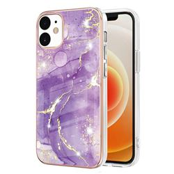 Fashion Purple Electroplated Gold Frame 2.0 Thickness Plating Marble IMD Soft Back Cover for iPhone 12 / 12 Pro (6.1 inch)
