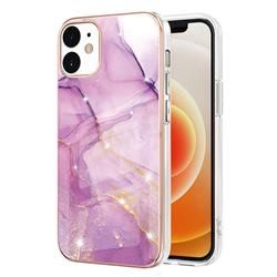 Dream Violet Electroplated Gold Frame 2.0 Thickness Plating Marble IMD Soft Back Cover for iPhone 12 / 12 Pro (6.1 inch)