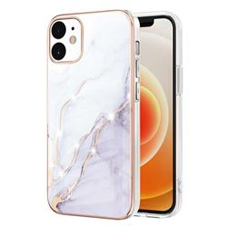 White Dreaming Electroplated Gold Frame 2.0 Thickness Plating Marble IMD Soft Back Cover for iPhone 12 / 12 Pro (6.1 inch)
