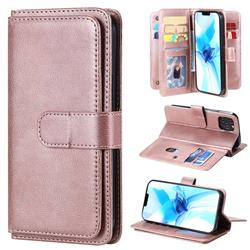 Multi-function Ten Card Slots and Photo Frame PU Leather Wallet Phone Case Cover for iPhone 12 / 12 Pro (6.1 inch) - Rose Gold