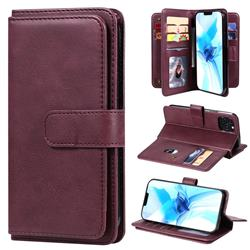 Multi-function Ten Card Slots and Photo Frame PU Leather Wallet Phone Case Cover for iPhone 12 / 12 Pro (6.1 inch) - Claret