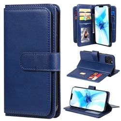 Multi-function Ten Card Slots and Photo Frame PU Leather Wallet Phone Case Cover for iPhone 12 / 12 Pro (6.1 inch) - Dark Blue