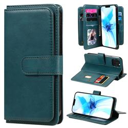 Multi-function Ten Card Slots and Photo Frame PU Leather Wallet Phone Case Cover for iPhone 12 / 12 Pro (6.1 inch) - Dark Green